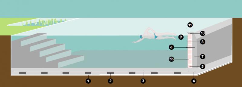 Doorsnede zwemvijver